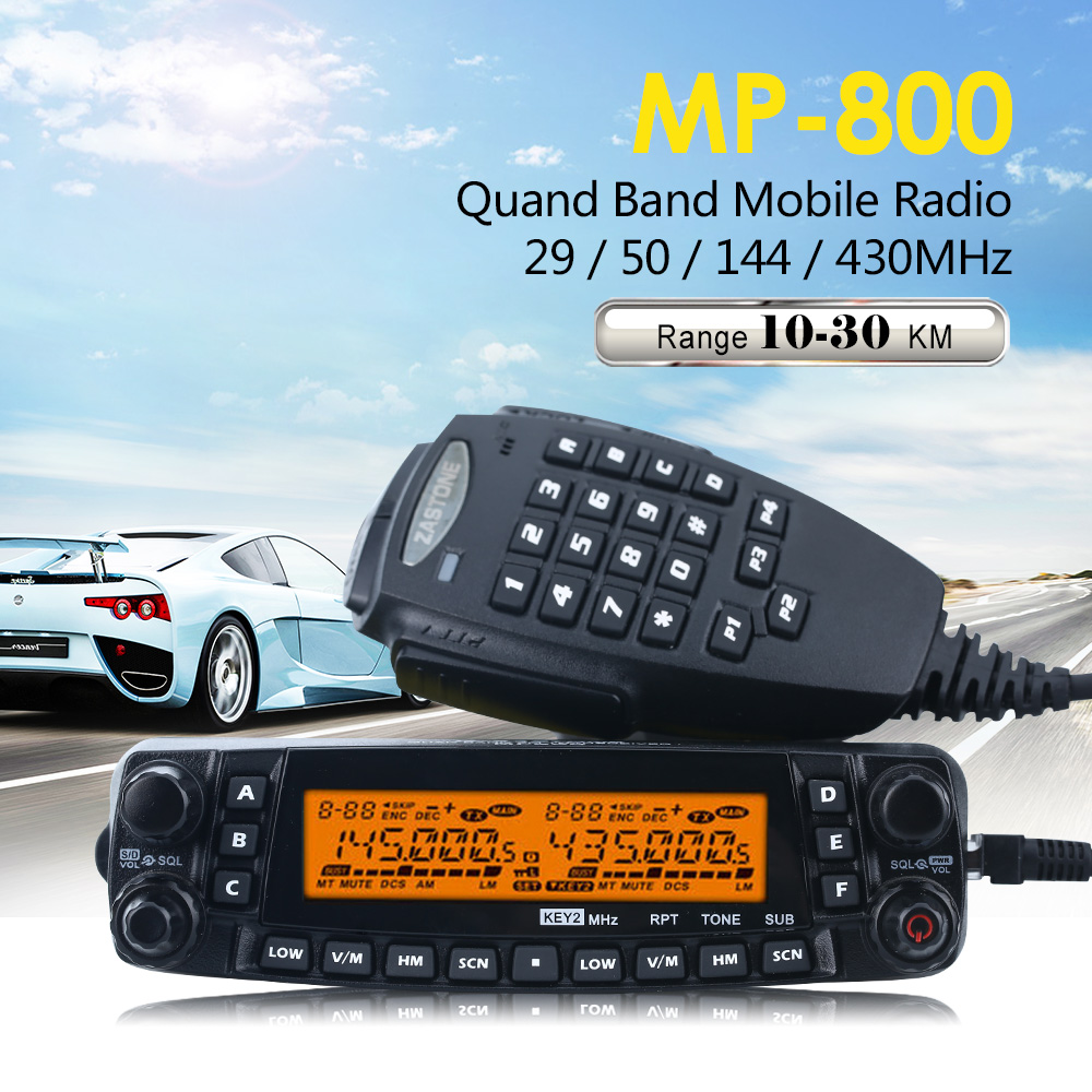 Zastone MP800 Quad Band VHF UHF Mobile Ham Radio Transceiver CB Walkie Talkie 50km Automotive Radio