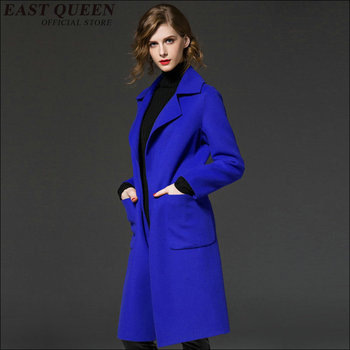 Women autumn winter wool overcoat Turn down collar winter women clothes Women solid color fabric coat AA1618z