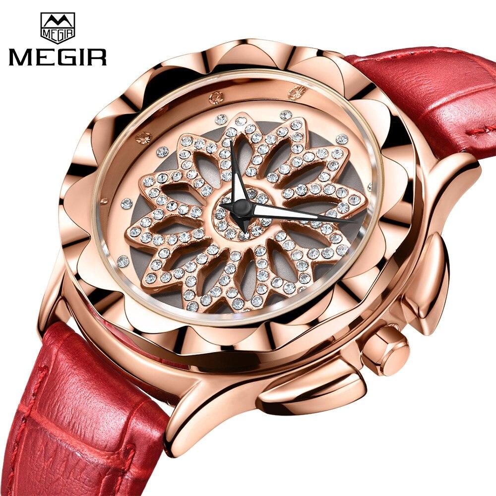 eb4fe917828 MEGIR Marca Top Mulheres Da Moda Amantes de Relógios Pulseira de Couro de Luxo  Senhoras relógios