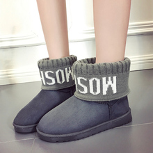 DEKABR Brand Female Warm Fur Fashion Letter Print Knitting Flanging Shoes Classic Winter Woman Boots Suede Ankle Flat Snow Boots