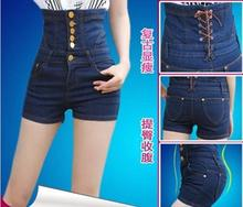Лучшие продажи Осенью и летом новый хип живот был тонкий девушки носить старинные однобортный высокая талия джинсовые шорты шорты w32