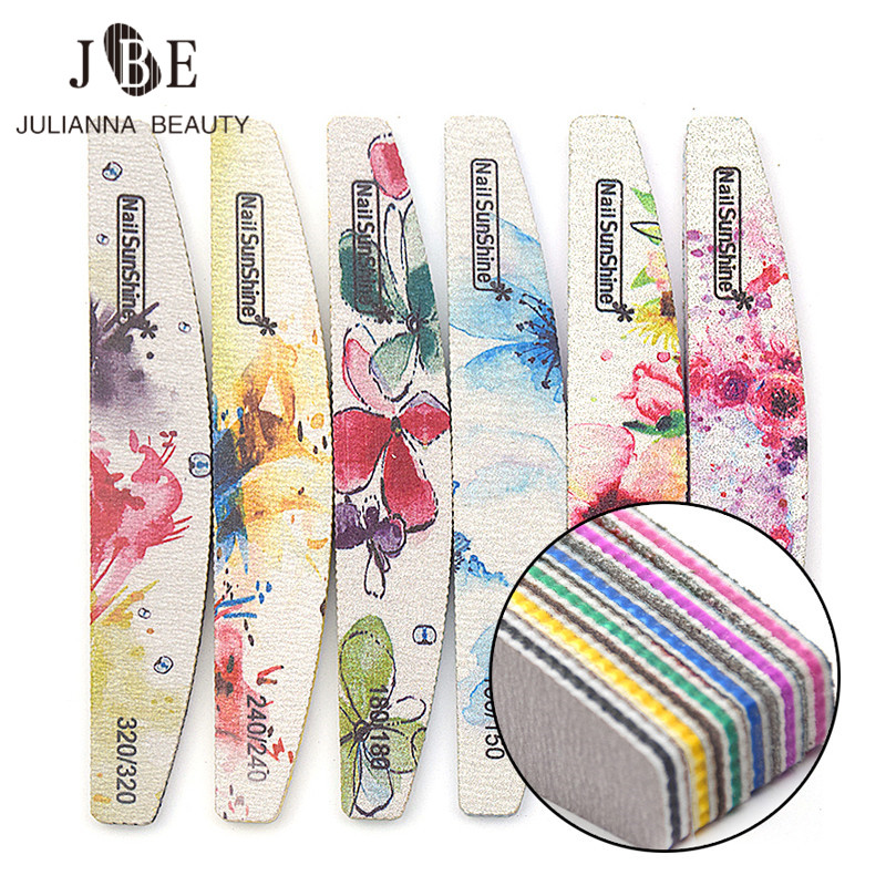 6Pcs Thick Nail File 80/100/150/180/240/320 Sanding Buffer Block Double Sided Flower Nail File For Gel Polish Manicure Tool