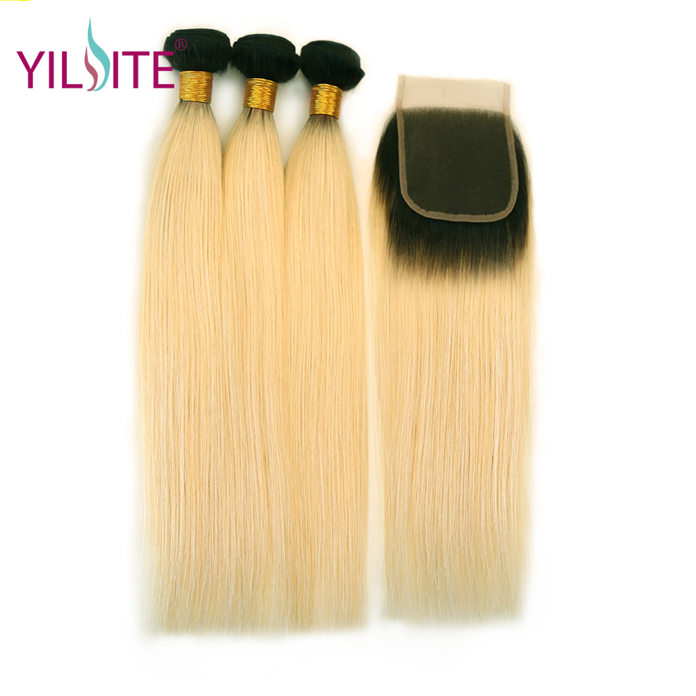 YILITE Brazilian Straight Hair 3 Bundles With Closure Non-remy Blonde Hair Weave Bundles Ombre Human Hair Extensions 12-26 Inch
