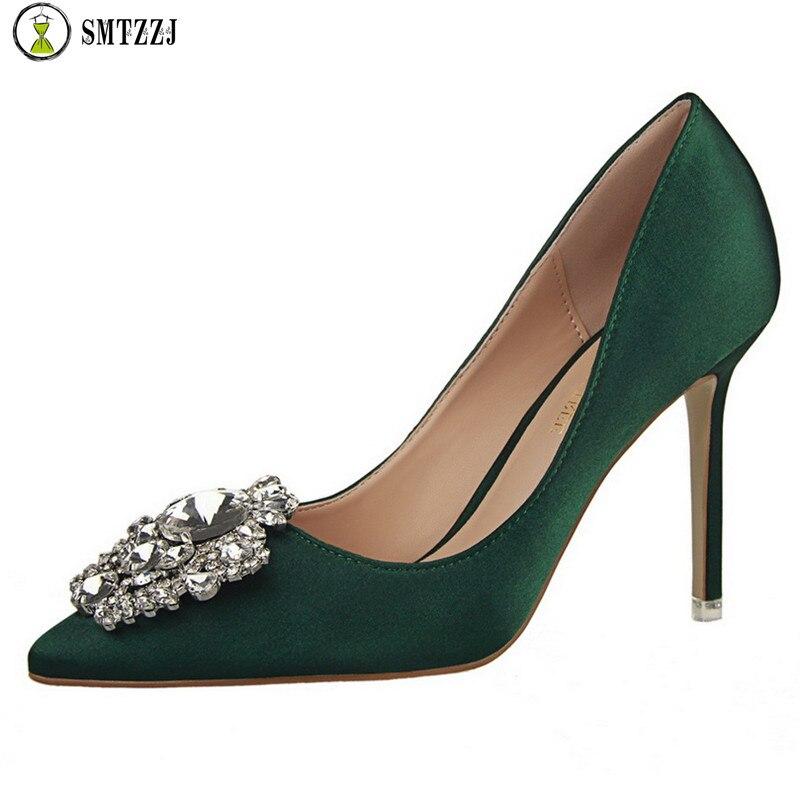 Ladies Shoes Crystal High-Heels Luxury Wedding-Party-Pumps Rhinestone Satin Silk Elegant