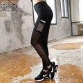 2016 Sexy Black Mesh Лоскутная Женщины Брюки Тонкий Дышащий Фитнес Случайные Леггинсы Mallas Deportivas Mujer Моды Брюки
