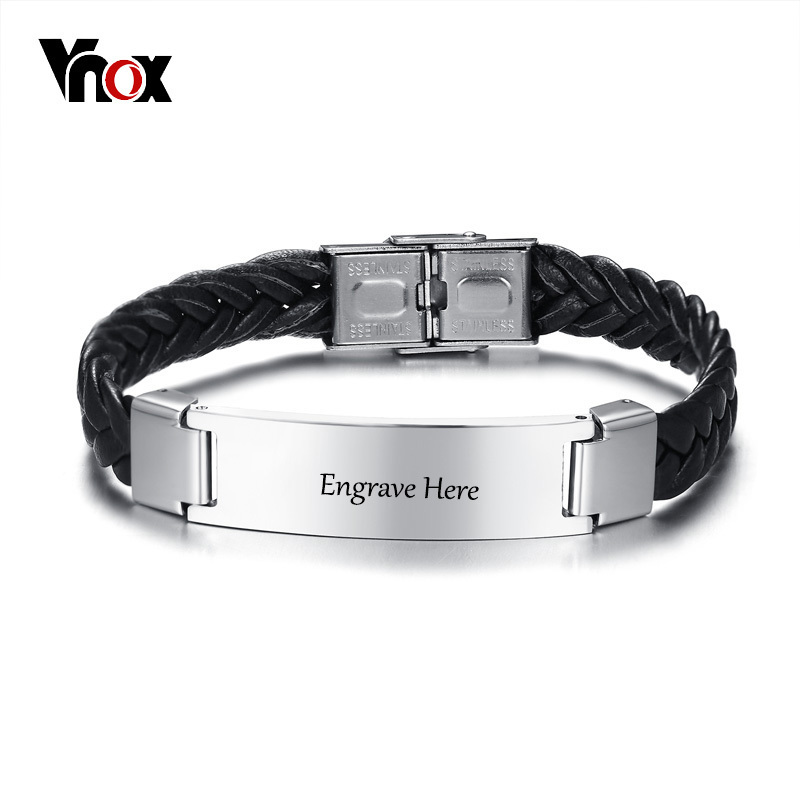 Vnox 12mm Mens ID Bracelet Free Engraving Stainless Steel Identification Cuff Bangle Braided Leather Casual Classic Male Jewelry
