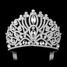 2017 European Bride Headdress Cystal  Silver Crown Wedding Hair Jewelry Princess Hair Comb Wedding Accessories Crown FN-G059