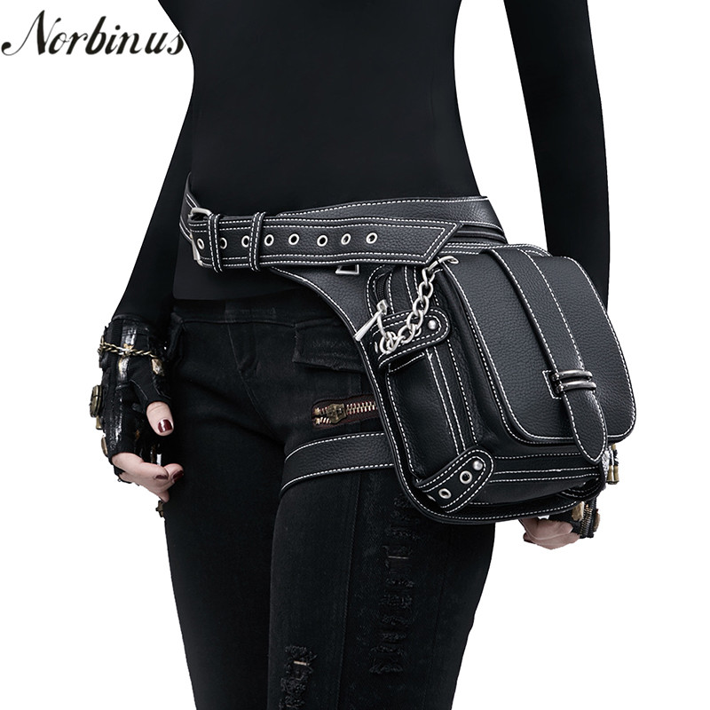 Us 33 05 42 Off Norbinus Women Motorcycle Waist Leg Bag Pu Leather Hip Belt Steampunk Rock Men Holster Messenger Shoulder Crossbody In