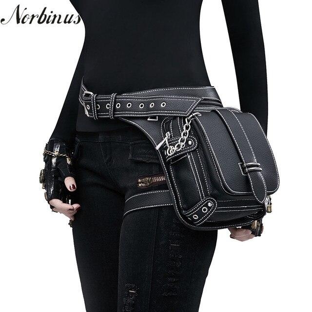 efaf1ceb1f03 Norbinus Women PU Leather Motorcycle Waist Leg Bag Hip Bum Belt Men Holster  Bag Steampunk Rock Messenger Shoulder Crossbody Bag