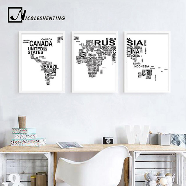 Online shop letter world map poster canvas prints minimalist wall letter world map poster canvas prints minimalist wall art painting black white decorative picture for living room decoration gumiabroncs Images