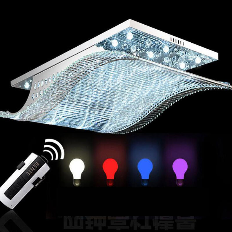 Smooth LED ceiling lamp Rectangular living room lamp Crystal lamps Restaurant Chandelier Bedroom Home Atmosphere led lighting new led high light living room crystal lamp rectangular living room lamp ceiling lamp chandelier lamp led lighting fixture led