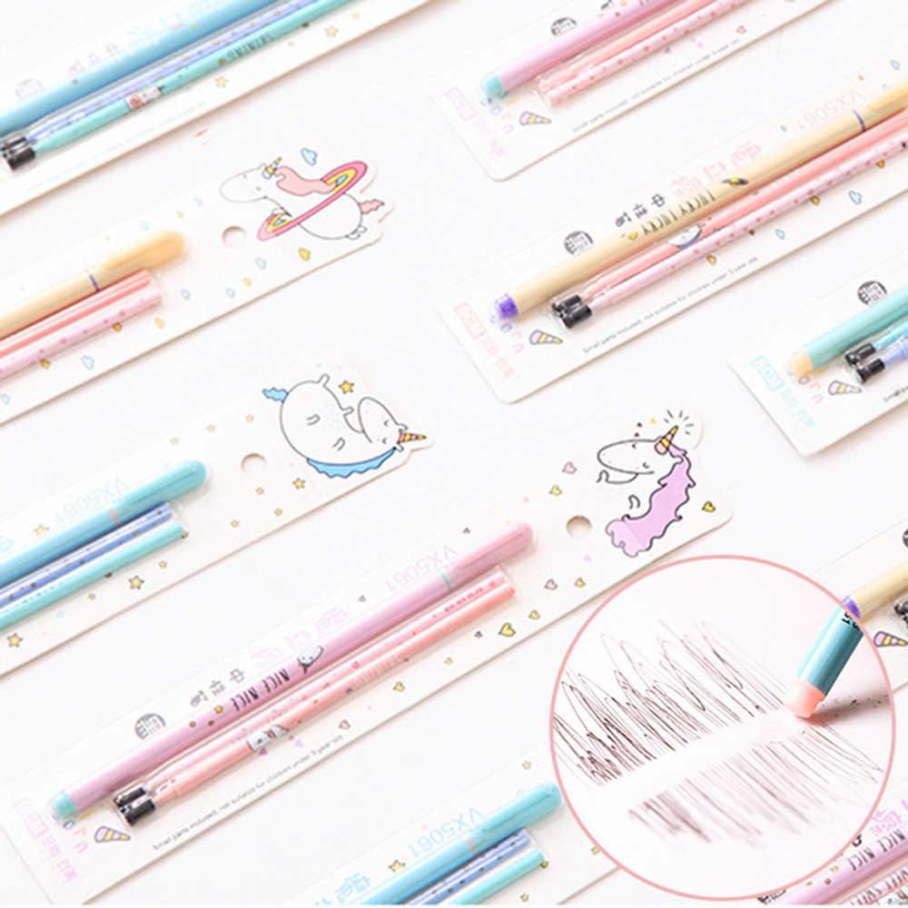0,5 мм стираемая ручка с единорогом, синяя/черная волшебная гелевая ручка, милые канцелярские принадлежности для студентов, школьные офисные принадлежности, подарок