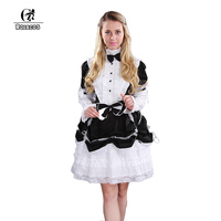 ROLECOS Brand New Arrival Women Lolita Dress Color Black White Patchwork Long Sleeve Cosplay Costumes Vintage Women Clothes