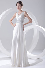 Elegant Silver Satin Long Bridesmaid Dresses 2018 Sexy V Neck Beaded Sequin  Dress For Wedding Party f6232fc102a5