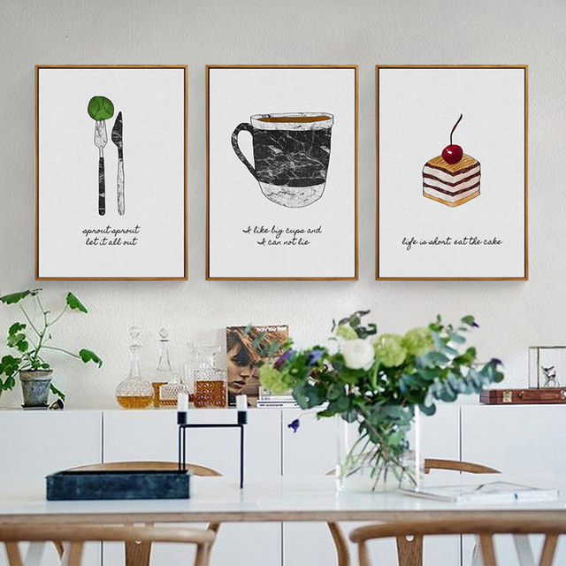 Perfect HEYCUADRO Kitchen Cook Style Knife And Fork Wall Poster Prints Dining Room  Home Decor No Frame