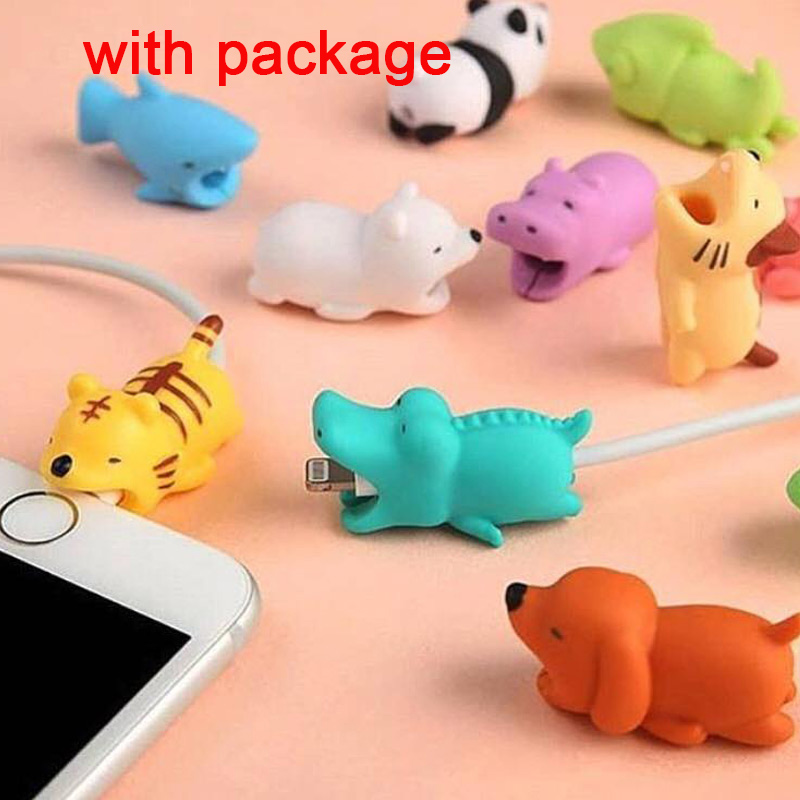 1pcs Kawaii Cable Bite Animal Iphone Protector Shaped Winder Dog Bite Phone Accessory Prank Toy Funny