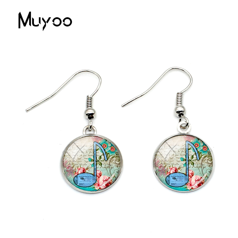 Neue Mode Musical Hinweis Fisch Haken Ohrringe Musical <font><b>Notes</b></font> Schmuck Musical Eardrops Glas Cabochon Dangler Ohrringe image