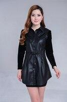 2015 Spring New Leather Female Slim Large Size Women Long Leather Windbreaker Jacket Leather Jacket Women