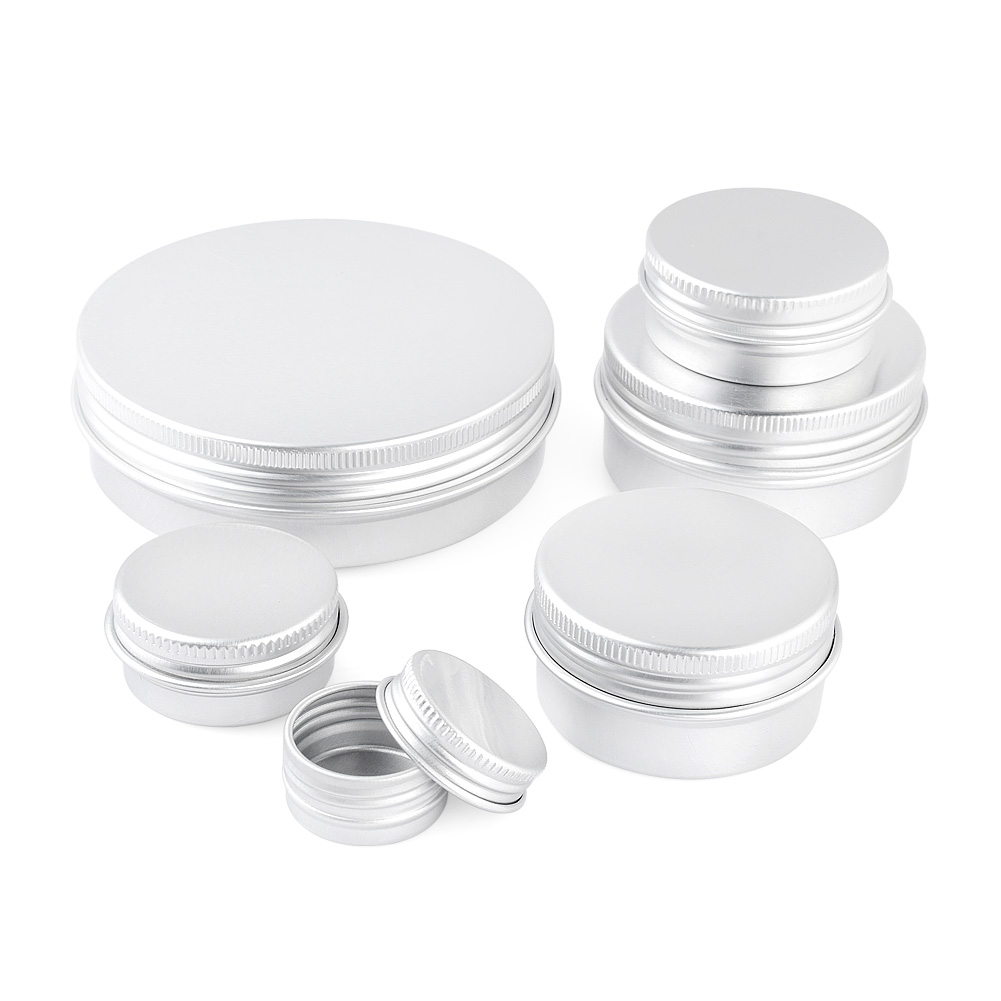 5ml-100ml Aluminium Tin Cans Container Screw Top Lip Balm Sample Cosmetic Jar Buttons Earrings Pills Beads Jewelry Storage Box