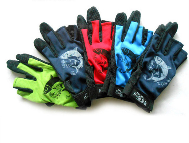 Half Finger Fishing Glove 3 Fingers Out Expose Waterproof Suntan