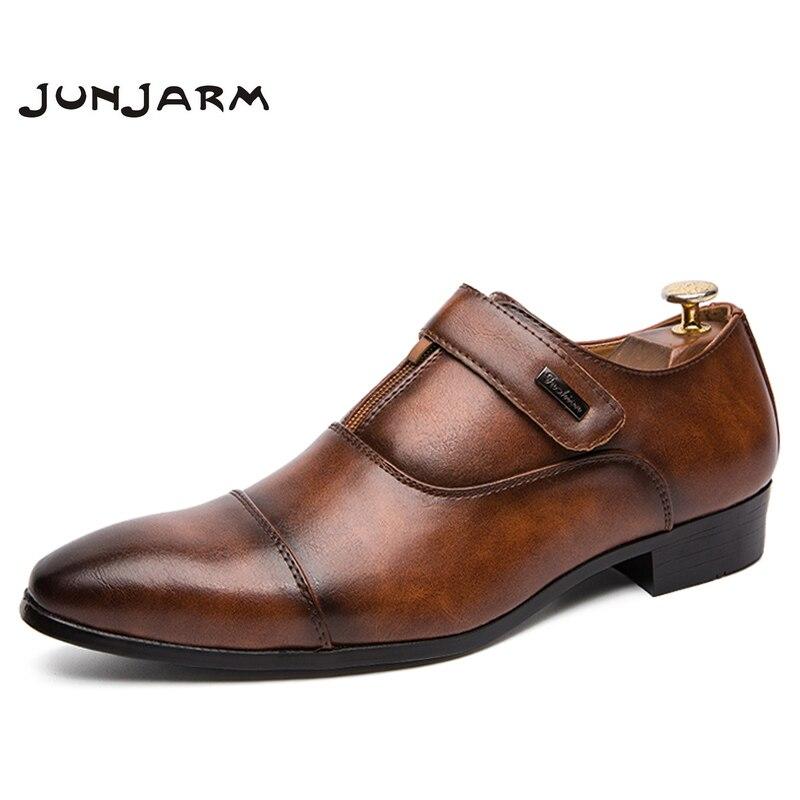 JUNJARM 2019 Men Dress Shoes Quality Men Formal Shoes Lace up Men Business Oxford Shoes European Brand Men Wedding Party Shoes