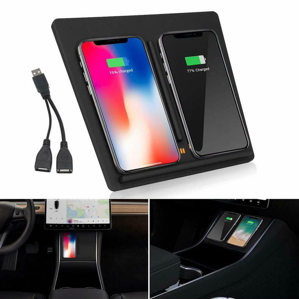 Chargeur de Console centrale de chargement de téléphone sans fil de voiture pour Tesla modèle 3