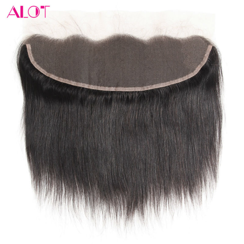 ALot Hair Brazilian Hair Lace Frontal Closure Straight Human Hair Closure 13x4 Ear To Ear Non Rmey With Baby Hair 8-20Inch