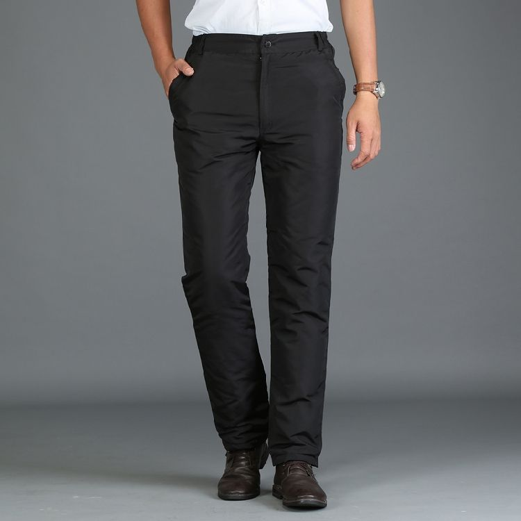 Mens 90% White Duck Cold-proof Pants Winter Straight Outside Wear Business Pants Warm Duck Down Padded Trousers 092111