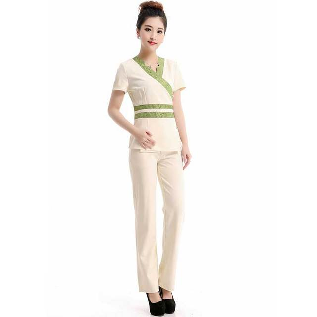2016 Patrón de Envío Libre Azafata Thai Spa Masaje Esteticista Uniforme Patchwork Tops y Larga Batik Pantalones Uniforme