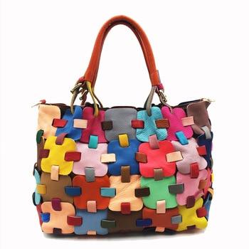 2019 New Arrival High Quality Real Genuine Leather Patchwork Handbags for Women Elegant Multi Color Soft Serpentine Shoulder Bag