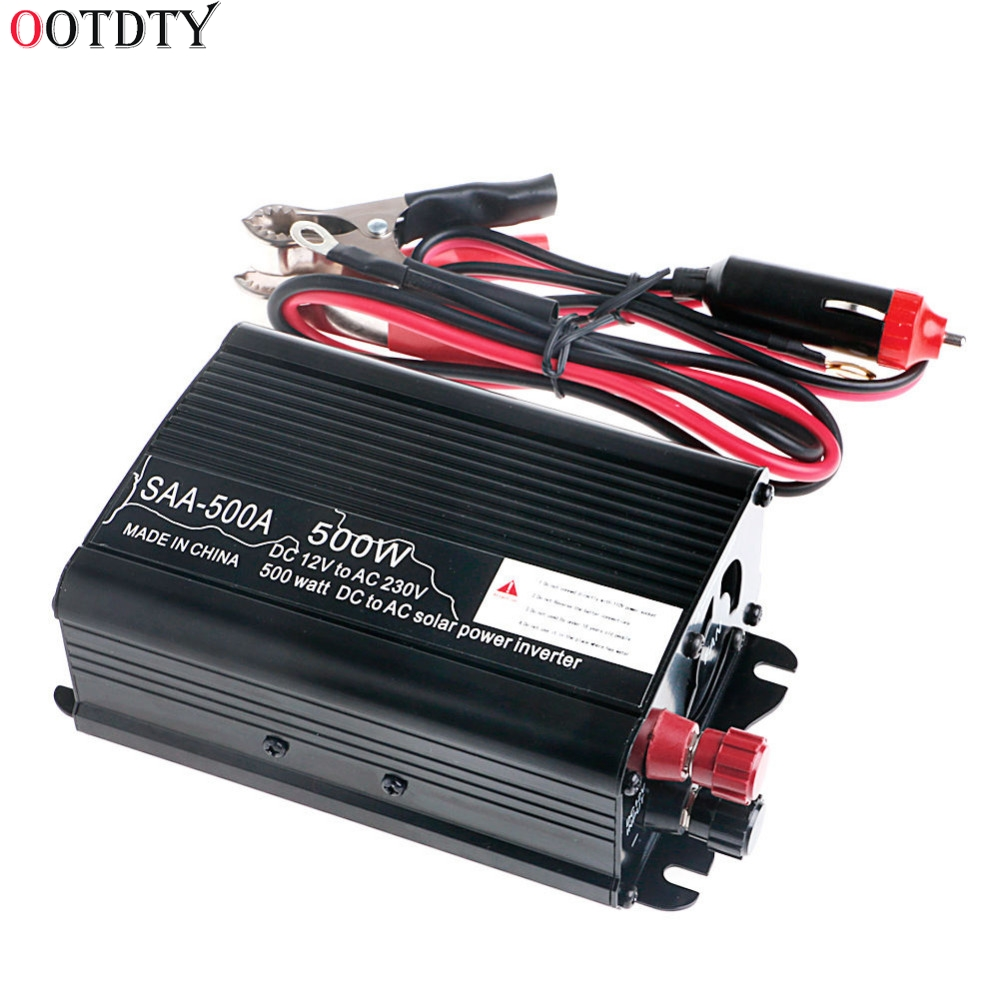 OOTDTY Solar Power Inverter 1000W Peak 12V To 230V Modified Sine Wave Converter 10pcs professional magnetic nut driver set metric socket 1 4 hex power drill bits 6mm 15mm hex socket sleeve adapter power tool