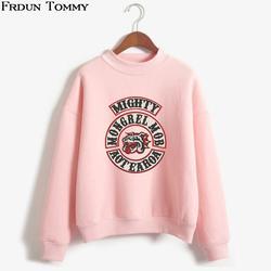 Frdun Tommy дворняга Моб Oversize свитер с высоким воротником Мода Harajuku o-образным вырезом Зима/Осень ветер свободные bf Прохладный Кофты