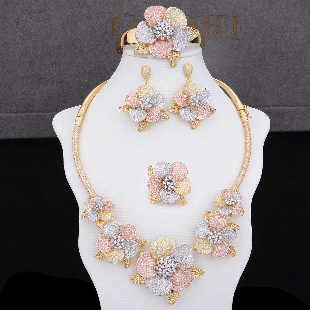 GODKI Luxury Flower Blossom Cubic Zircon CZ Nigerian Jewelry set For Women Wedding Dubai African Bridal  Jewelry Set Bohemia Hot