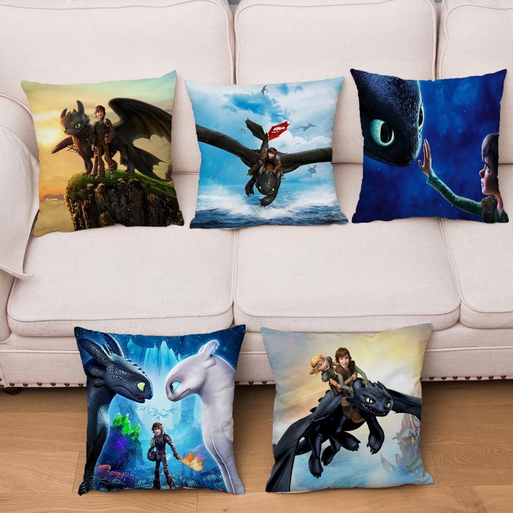 How To Train Your Dragon Cushion Cover Decor The Hidden World Short Plush Pillow Covers Pillows Cases For Sofa Home Pillowcase