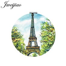 JWEIJIAO Eiffel Tower Folding Makeup Mirror Mini 1X/2X Magnifying Portable Green Art Photo Round  Compact Mirrors