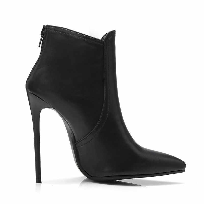 ASUMER 2020 moda sonbahar kış çizmeler sivri burun zip yarım çizmeler kadınlar için süper yüksek topuklu balo bayanlar çizmeler artı boyutu 34-48