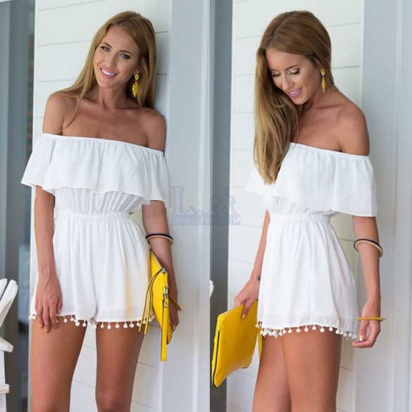 6f85f5e01c44 Tunic Beach White Jumpsuit For Women Off-shoulder Short Sleeve High Waist  Shorts Chiffon Playsuits Overalls Combinaison Femme JZ