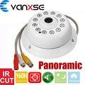 Vanxse CCTV 1/3 CMOS 1200TVL 12 LEDs IR-CUT D/N Panorâmica de 360 graus 1.7mm Cúpula Interior De Segurança De Áudio Microfone da câmera