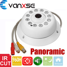 Vanxse CCTV 1/3 CMOS 1200TVL 12LEDs IR-CUT D/N Panoramic 360 degree 1.7mm Indoor Dome Audio Security Camera Microphone