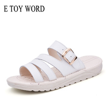 E TOY WORD Sandals Women New 2019 Summer women Slippers Leather women shoes Beach Sandals Flat Slippers Casual Open Toe Slides mvvjke summer women shoes woman genuine leather flat sandals casual open toe sandals women sandals