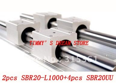 Free Shipping 2pcs SBR20-1000mm Linear Bearing Rails + 4pcs SBR20UU Bearing Locks CNC X Y Z free shipping 2pcs sbr16 700mm linear bearing rails 4pcs sbr16uu bearing locks cnc x y z