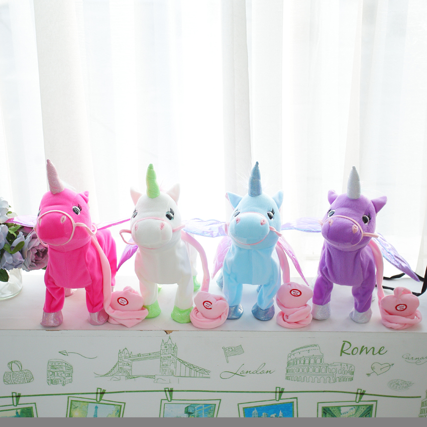 Stuffed Animals & Plush Vip Links 35cm Electric Walking Unicorn Plush Toy Stuffed Animal Toy Electronic Music Unicorn Toy For Children Christmas Gifts