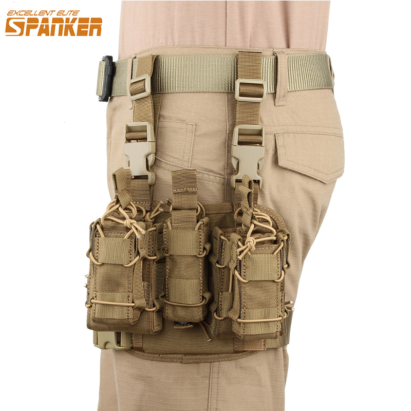 EXCELLENT ELITE SPANKER Tactical Combination Ammo Clip Bag MOLLE Legs Hanging Bags Magazine Pouch Outdoor Hunting Equipment airsoftpeak military tactical waist hunting bags 1000d outdoor multifunctional edc molle bag durable belt pouch magazine pocket