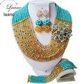 ¡ Nuevo! aqua azul champán oro perlas de cristal de joyería de fantasía nupcial conjunto de boda nigeriano beads africanos joyería establece aac276