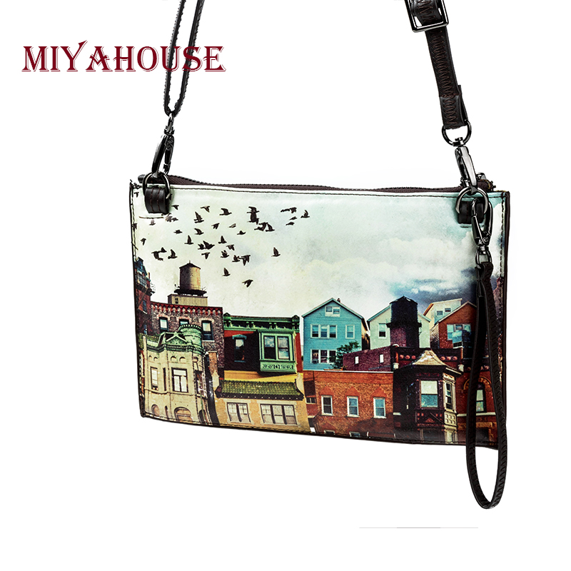 Miyahouse Casual Cartoon Print Women Clutch Bag High Quality Leather Crossbody Bag Ladies Colorful Small Shoulder Flap Bag Girls miyahouse summer women messenger bags canvas leather cartoon owl printed crossbody shoulder bags small ladies flap bag casual