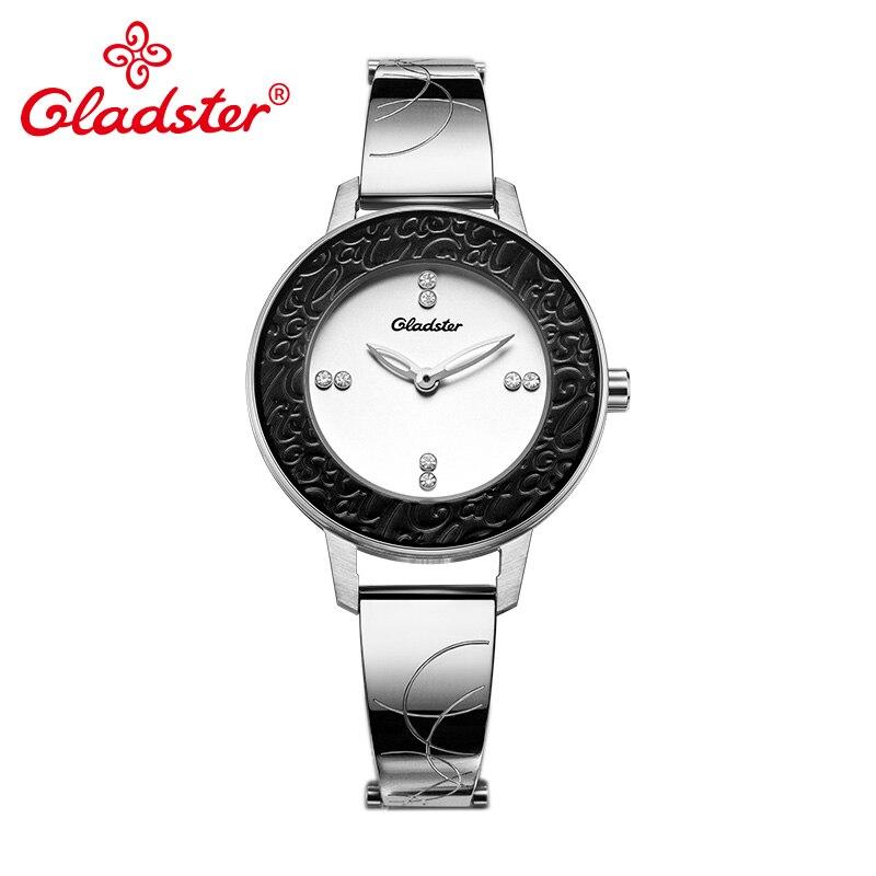 Gladster Japanese MIYOTA GL20 Simple Engraved Lady Quartz Watch Stainless Steel Women Wristwatch Sapphire Crystal Female Clock цена 2017