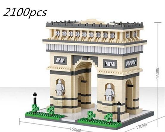 2100 pièces 3D célèbres blocs de construction modèle de construction assembler des blocs Paris Arc de Triomphe