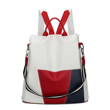 Women's Backpack for School Style Leather Bag For College Patchwork Design Women Casual Daypacks mochila Female Famous Brands цена 2017