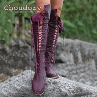 Foreign fashion women 's shoes multi color leather belt boots flat boots European style tassel long boots big zise34 45