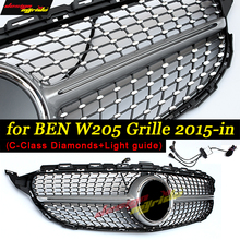 sports edition C400 C250 C180 C200 C63AMG Diamond+Light guide grille Silver Suitable for C Class w205 c63 radiator 2015+